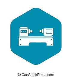 Lathe machine icon, simple style