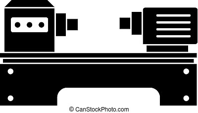 Lathe machine icon in simple style isolated on white background vector illustration