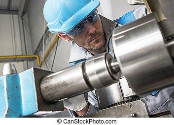 Lathe Metalwork Industry Worker. Caucasian Lathe Technician...