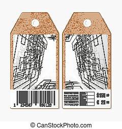 lati, etichette, vettore, collegato, tecnico, linee, astratto, barcode., punti, cartone, fondo., etichette, entrambi, costruzione, disegno, vendita