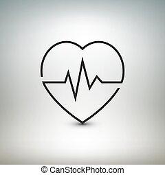 latido de corazón, ilustración médica, vector, atención ...