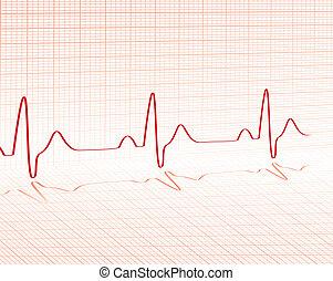 latido de corazón, rojo, cuadrícula
