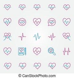 latido del corazón, colorido, contorno, icons., vector, cardíaco, ciclo, canta