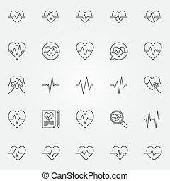 latido del corazón, iconos, conjunto, -, vector, cardíaco, ciclo, línea, señales