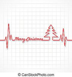 latido del corazón, marca, navidad, alegre, texto
