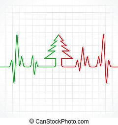latido del corazón, navidad, marca, árbol