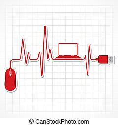 latido del corazón, ratón de la computadora portátil
