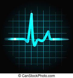 latido del corazón, seno, humano, onda