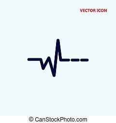 latido del corazón, vector, icono
