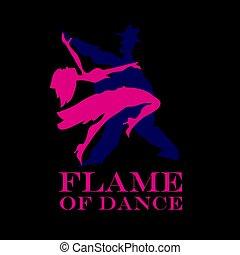 latijn, poster., dancing, dans, paar, illustratie, vector, zwarte achtergrond, salsa