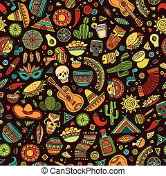 latim, mexicano, padrão, americano, seamless, hand-drawn, caricatura
