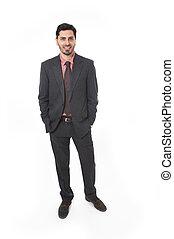 latim, paleto, jovem, hispânico, atraente, homem negócios, retrato, laço, sorrindo, incorporado, etnicidade