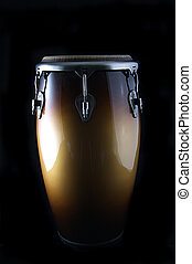 Latin African Conga Drum Isolated on Black