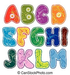 alphabet (Part 1) - Latin alphabet (Part 1) of the color of...