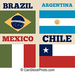 latin america design - countries flags of latin america....