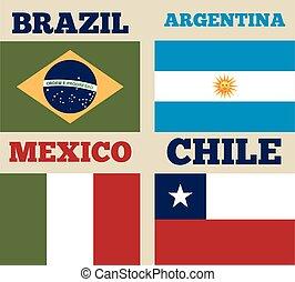 latin america design - countries flags of latin america....