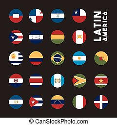 latin america design - flags of latin america countries on...