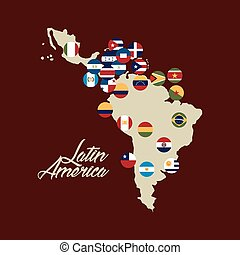 latin america design - Map of Latin America with the flags...
