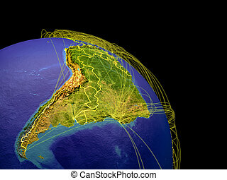 Latin America from space with country borders and trajectories representing global communication, travel, connections. 3D illustration. Elements of this image furnished by NASA.