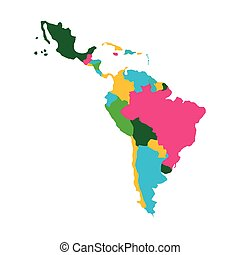 latin america map icon over white background. colorful...