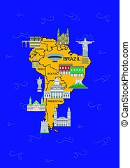 latin america map - Illustration in the style of a flat...