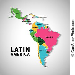 latin america map - Map of Latin America with the countries...