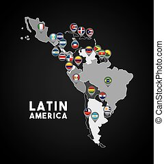 Map of Latin America with the flags of countries on location pins. colorful design. vector illustration