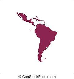 Latin America Map - Purple Latin America map silhouette...