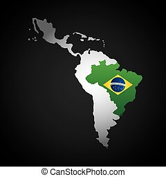 latin america map with the brazil country flag over blue...