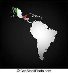 latin america map with the mexico country flag over black...