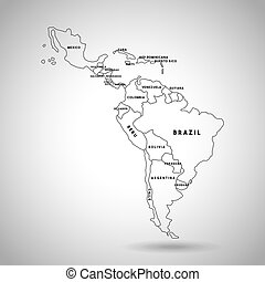latin america map with the names of the countries icon over...