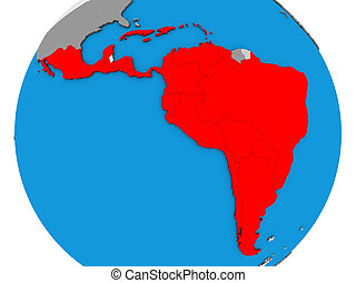 Latin America on 3D map - Latin America on blue political 3D...