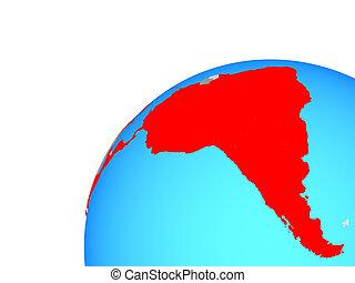Latin America on globe. 3D illustration.