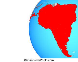 Latin America on globe - Latin America on blue political...