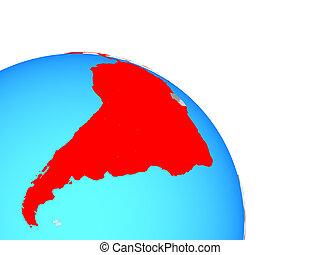 Latin America on globe - Latin America on simple blue...