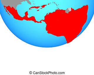 Latin America on globe - Latin America on simple political...