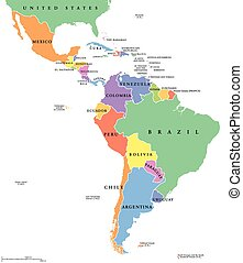 Latin America single states map - Latin America single...