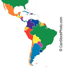 Latin America single states map