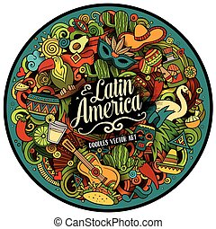 Latin America vector hand drawn Doodle illustration - Latin...