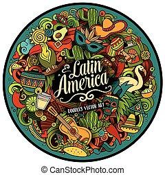 Latin America vector hand drawn Doodle illustration - Latin...