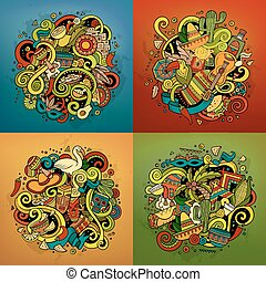Latin America vector hand drawn Doodle illustration - Latin ...