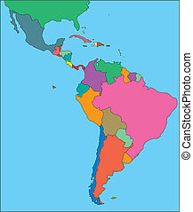 Latin America Regional Map with individual Countries, Editable Color. Perfect for Sales and Marketing Presentations. Countries are individual objects that can be colored and changed so you can build a regional territory map or develop an illustration. Great for building sales and marketing territory...