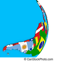 Latin America with flags on 3D globe - Latin America with...
