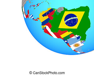 Latin America with national flags on simple globe. 3D illustration.