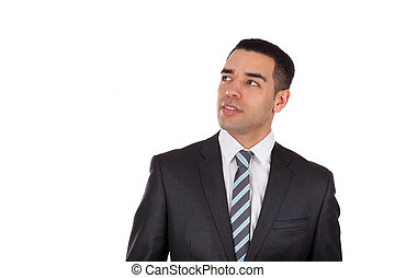 Latin American business man looking up isolated on white...