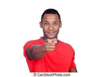 Latin American casual man pointing at the camera with finger