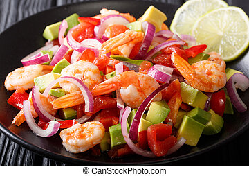 Latin American ceviche seafood with vegetables and lime...