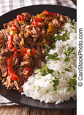 Latin American cuisine: ropa vieja with rice close-up. ...