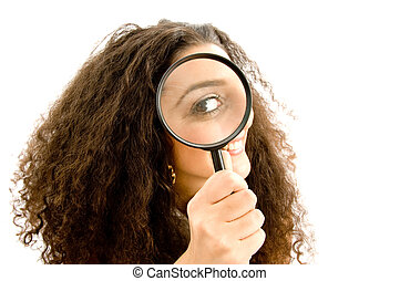 latin american model holding magnifier