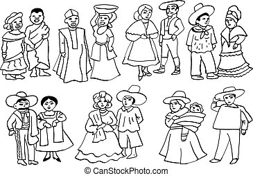 Latin American national costumes - Graphic illustration of...